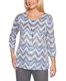 Petite Sapphire Skies Zigzag-Knit Sweater