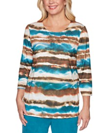 Alfred Dunner Walnut Grove Watercolor-Stripe Top