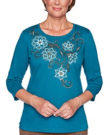Walnut Grove Scroll-Embroidered Top