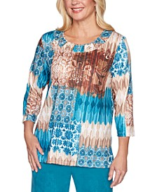 Walnut Grove Mixed-Print Top