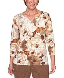 Petite Walnut Grove Cotton Printed Sweater