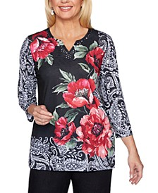 Petite Rose-Print Well Red Top