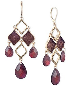 Gold-Tone Pavé, Rock Crystal & Stone Chandelier Earrings