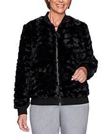 Petite Faux-Fur Well Red Bomber Jacket