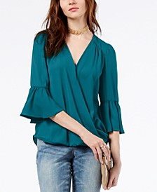 INC Surplice-Neck Bell-Sleeve Blouse, Created for Macy's