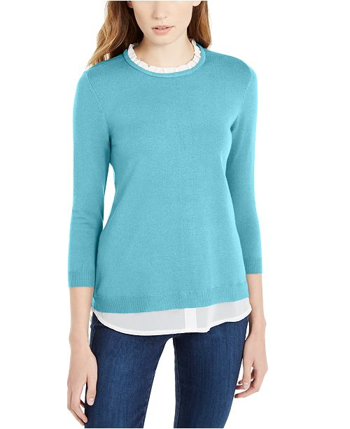 Maison Jules 3/4-Sleeve Layered-Look Sweater, Created For Macy's