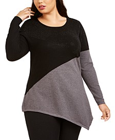 Plus Size Colorblocked Asymmetrical Glimmer Top