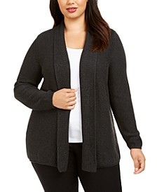 Plus Size Mixed-Knit Cardigan