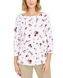 Petite Printed Pima Cotton Top, Created For Macy's