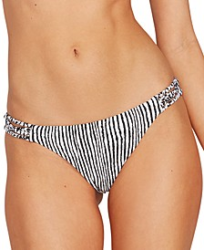 Juniors' Stripe Away Printed Hipster Bikini Bottoms