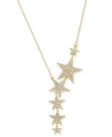 """Gold-Tone Pavé Star Lariat Necklace, 17"""" + 3"""" extender, Created For Macy's"""
