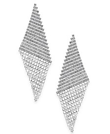 Silver-Tone Pavé Triangular Mesh Drop Earrings, Created for Macy's