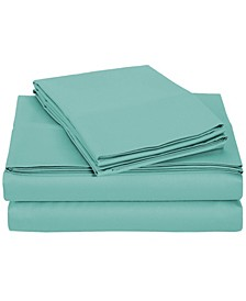 University 6 Piece Teal Solid Queen Sheet Set