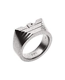 Emporio Men's Stainless Steel Logo Cocktail Ring