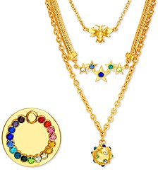"Gold-Tone Crystal Layered Pendant Necklace & Phone Ring Gift Set, 14"" + 3"" extender"