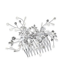 INC Silver-Tone Crystal & Imitation Pearl Bridal Hair Comb, Created for Macy's