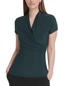 DKNY Ruched Surplice-Neck Top