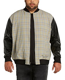 MVP Collections Men's Big & Tall Plaid Bomber Jacket with Faux Leather Sleeves