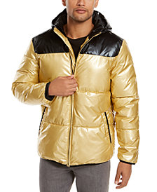 Alfani Men's Colorblocked Hooded Puffer Coat, Created For Macy's