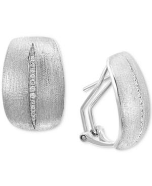 Effy Diamond Satin Finish Drop Earrings (1/10 ct. t.w.) in Sterling Silver
