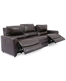 Danvors 3-Pc. Leather Sectional Sofa with 2 Power Recliners and Power Headrests