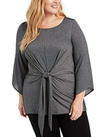 Plus Size Metallic Tie-Front Top, Created For Macy's