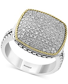 EFFY® Diamond Pavé Two-Tone Statement Ring (1/3 ct. t.w.) in Sterling Silver & 18k Gold-Plate