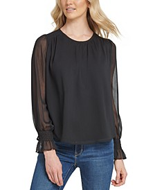 Sheer-Sleeve Chiffon Top