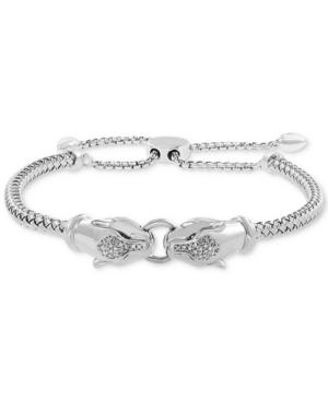 Effy Diamond Panther Head Bolo Bracelet (1/20 ct. t.w.) in Sterling Silver