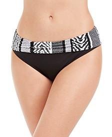 Printed-Waist Hipster Bikini Bottoms