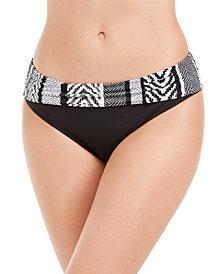 Kenneth Cole Printed-Waist Hipster Bikini Bottoms