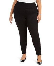 Plus Size High-Waist Snap-Hem Pants
