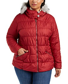 Plus Size Sparks Lake Faux-Fur-Trimmed Puffer Coat