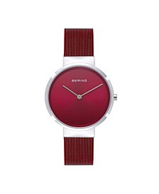 Women's Classic Red Stainless Steel Mesh Bracelet Watch 31mm