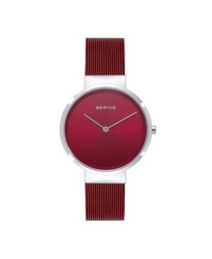 Women's Classic Red Stainless Steel Mesh Bracelet Watch 31mm