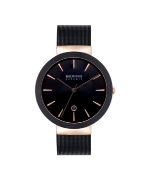 Women's Ceramic Black Stainless Steel Mesh Bracelet Watch 40mm