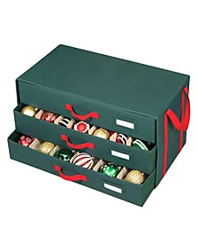 Holiday Decoration Ornaments Storage 3 Drawer Chest Organizer