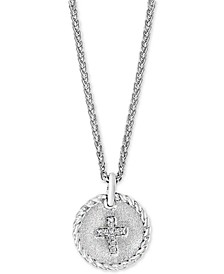 "EFFY® Diamond Accent Cross 18"" Pendant Necklace in Sterling Silver"