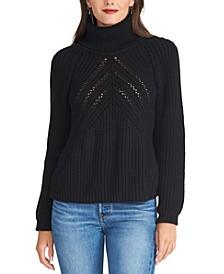 Edie Open-Knit Turtleneck Sweater