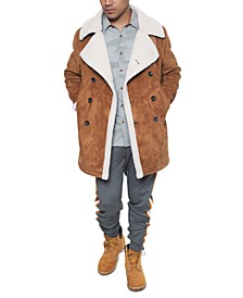 Men's Faux Shearling Double Breasted Peacoat