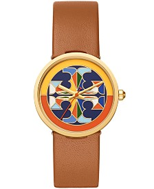 Tory Burch Women's Reva Brown Luggage Leather Strap Watch 36mm