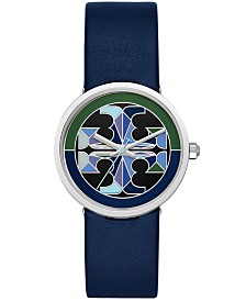 Tory Burch Women's Reva Navy Leather Strap Watch 36mm