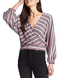 Metallic Criss-Cross V-Neck Top