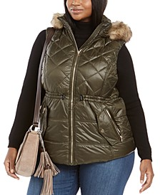 Active Plus Size Faux-Fur-Trim Hooded Down Puffer Vest