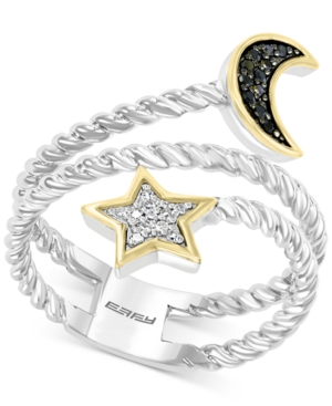 Effy Diamond Star & Moon Coil Ring (1/10 ct. t.w.) in Sterling Silver & 14k Gold-Plate