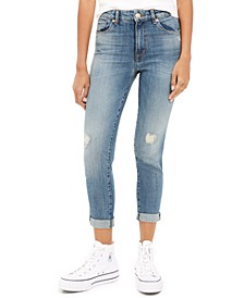 Distressed Cropped Straight Leg Jeans