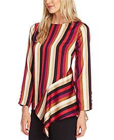Mayfair Stripe Asymmetrical-Hem Top