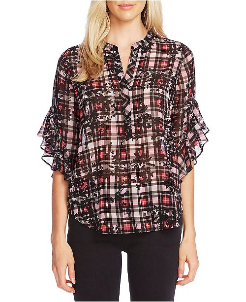 Vince Camuto Sheer Mixed-Print Flutter-Sleeve Top