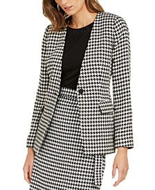 Petite Houndstooth-Print Single-Button Blazer