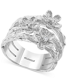 EFFY® Diamond Flower Stack-Look Statement Ring (1/20 ct. t.w.) in Sterling Silver